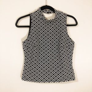 Black & White Patterned High Neck Crop Top